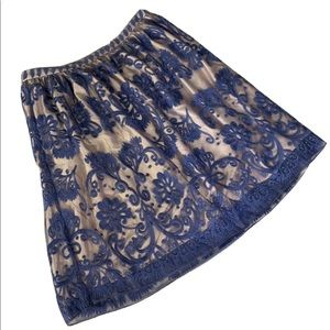 Sundance A-Line Blue Lace Embroidered Skirt